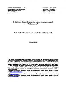 Build it and they will come: Volunteer ... - Faculty of Social Sciences