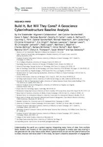 Build It, But Will They Come? A Geoscience Cyberinfrastructure ...