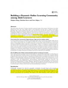 Building a Dynamic Online Learning Community