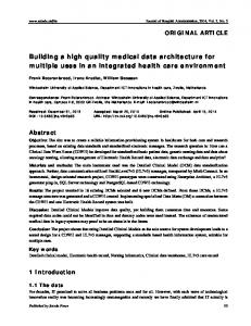 Building a high quality medical data architecture for ... - Sciedu Press