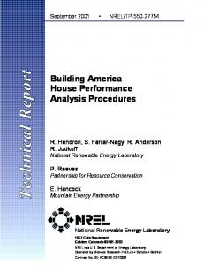 Building America House Performance Analysis Procedures - NREL