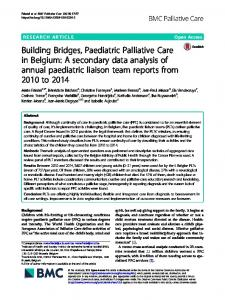 Building Bridges, Paediatric Palliative Care in ... - BMC Palliative Care