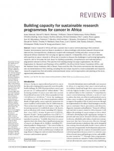 Building capacity for sustainable research ... - Semantic Scholar