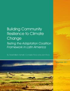 Building Community Resilience to Climate Change - World Bank Group