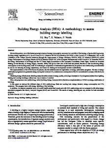 Building Energy Analysis (BEA): A methodology to ...