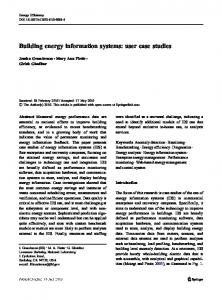 Building energy information systems: user case studies