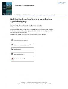 Building livelihood resilience: what role does ...