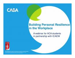 Building Personal Resilience in the Workplace - ICAEW.com