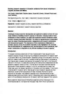 Building research capacity in Education: evidence ...