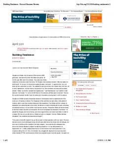 Building Resilience - Harvard Business Review