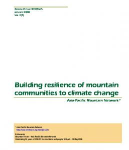 Building resilience of mountain communities to ...