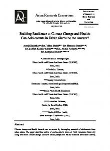 Building Resilience to Climate Change and Health