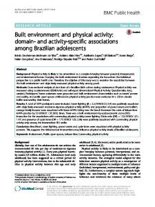 Built environment and physical activity: domain ... - BMC Public Health