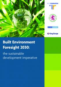 Built Environment Foresight 2030 - School of the Built Environment