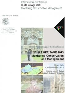 BUILT HERITAGE 2013 Monitoring Conservation and ...