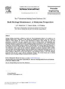 Built Heritage Maintenance: A Malaysian Perspectives - ScienceDirect