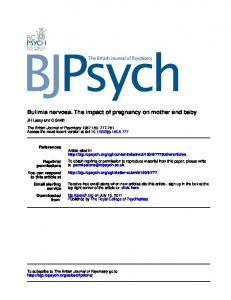 Bulimia nervosa. The impact of pregnancy on mother ...