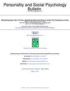 Bulletin Personality and Social Psychology - Existential Psychology ...