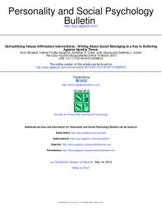 Bulletin Personality and Social Psychology - Group Identity and Social ...