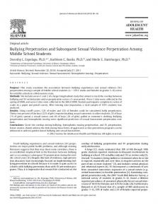 Bullying Perpetration and Subsequent Sexual Violence Perpetration ...