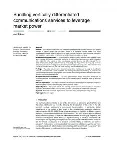 Bundling vertically differentiated communications services ... - CiteSeerX