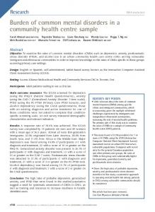 Burden of common mental disorders in a community health centre ...