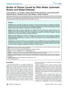 Burden of Disease Caused by Otitis Media: Systematic Review ... - PLOS