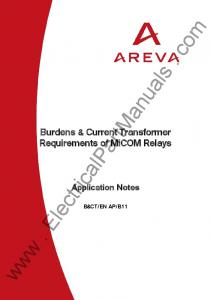 Burdens & Current Transformer Requirements of MiCOM