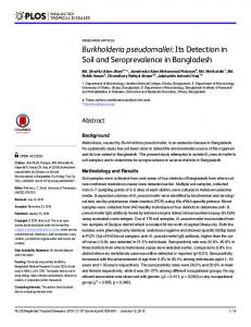 Burkholderia pseudomallei: Its Detection in Soil ... - Semantic Scholar