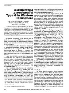 Burkholderia pseudomallei Type G in Western ... - BioMedSearch