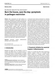 Burn the house, save the day: pyroptosis in pathogen ...