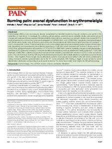 Burning pain: axonal dysfunction in erythromelalgia