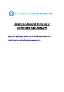 Business Analyst Interview Questions And Answers PDF