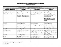 Business and Finance Technology Education Frameworks