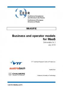 Business and operator models for MaaS - VTT