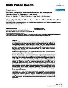 Business and public health collaboration for emergency preparedness ...
