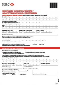 BUSINESS ATM CARD APPLICATION FORM