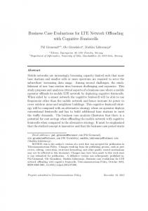 Business Case Evaluations for LTE Network Offloading ... - CiteSeerX