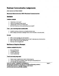 Business Communication Assignments - Center for Writing