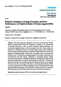 Business Contingency, Strategy Formation, and Firm ... - MDPI