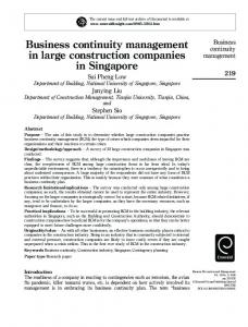 Business continuity management in large ... - IngentaConnect