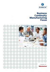 Business Continuity Manufacturing Focus