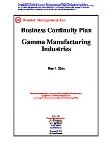Business Continuity Plan Gamma Manufacturing ...