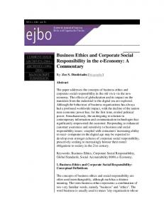 Business Ethics and Corporate Social Responsibility in the e-Economy