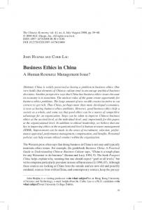 Business Ethics in China