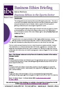 Business Ethics in the Sports Sector - Institute of Business Ethics