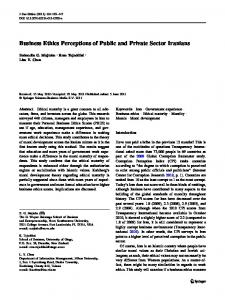 Business Ethics Perceptions of Public and Private Sector Iranians