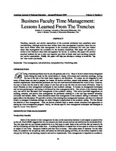 Business Faculty Time Management: Lessons Learned From ... - ERIC