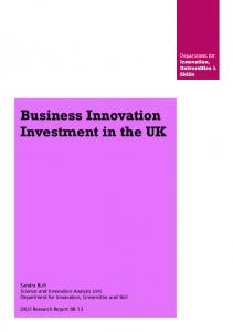 Business Innovation Investment in the UK - Core
