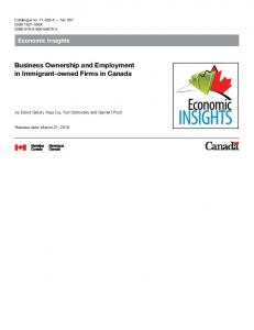 Business Ownership and Employment in Immigrant ... - Statistics Canada
